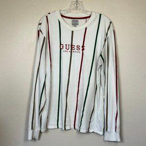 GUESS Long Sleeve Cream Stripe Logo Tee M EUC